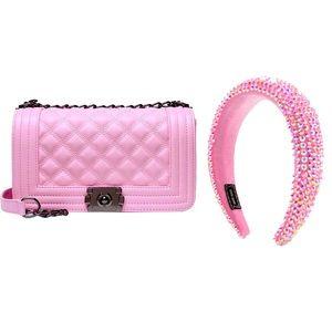 Pink Handbag with matching bling headband